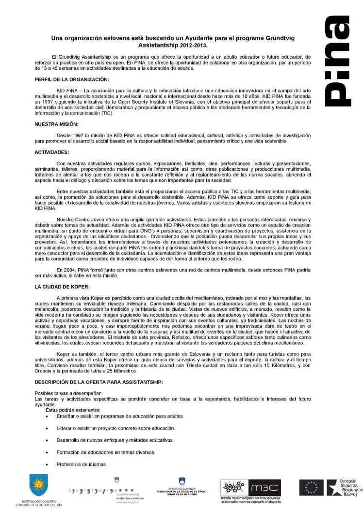Call for Grundtvig Assistant en ESLOVENIA1