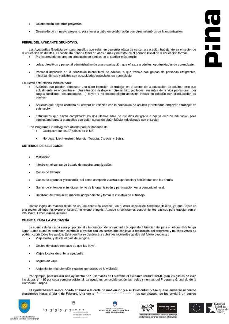 Call for Grundtvig Assistant en ESLOVENIA2